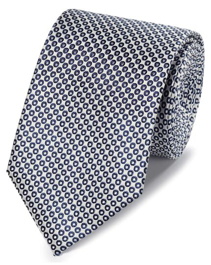 Navy and white circle design classic tie