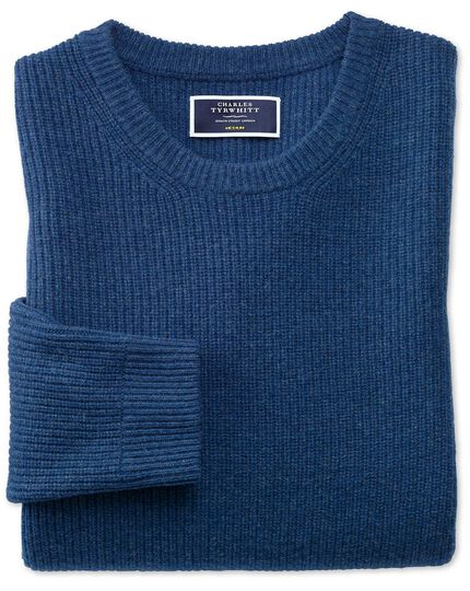 Blue lambswool rib crew neck sweater