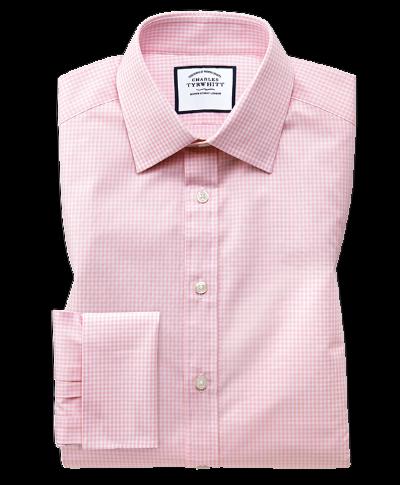 Slim fit light pink small gingham shirt