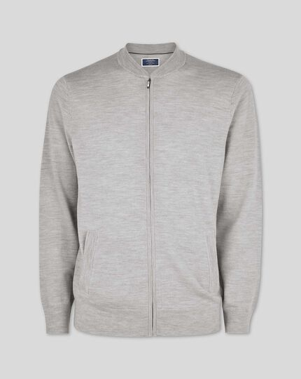 Merino Zip Through Bomber Jacket - Silver