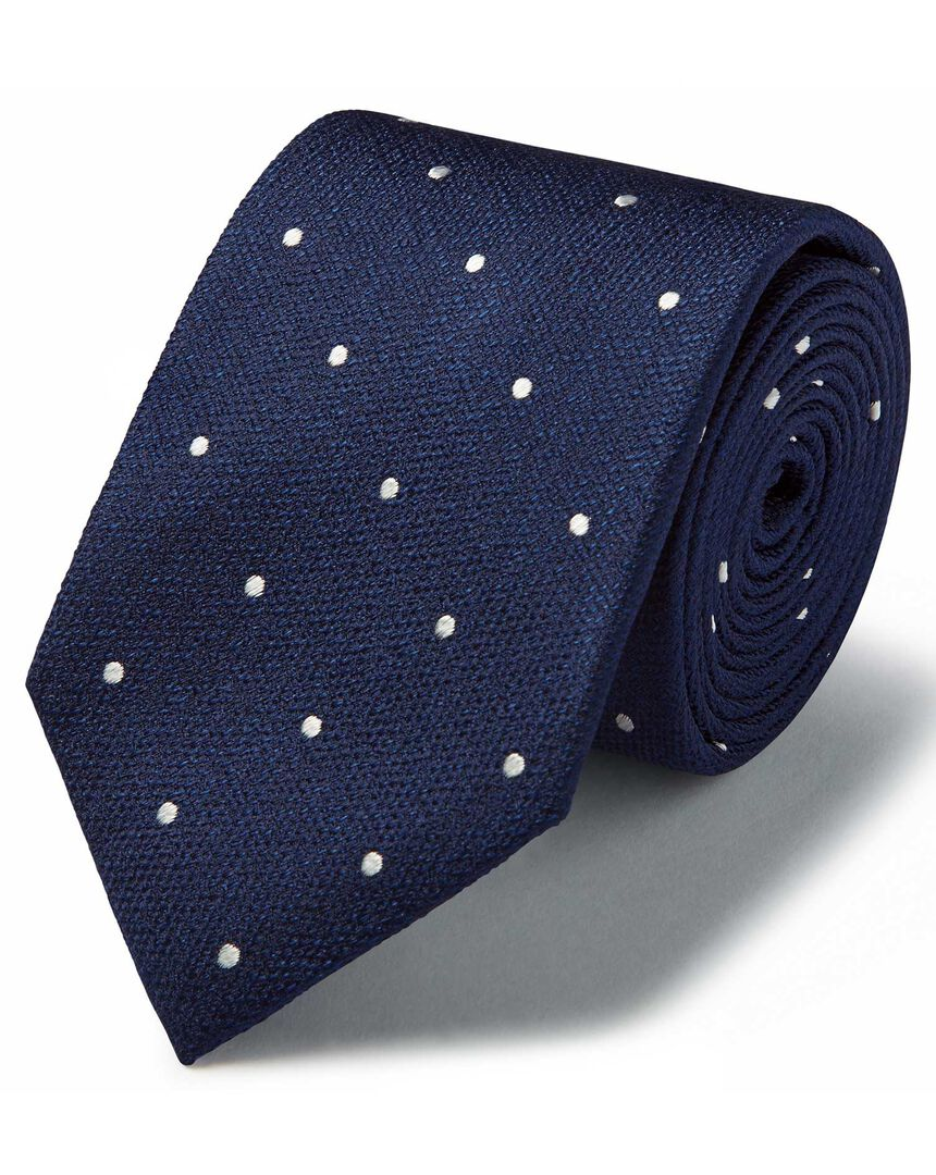 Navy and white silk spot classic tie