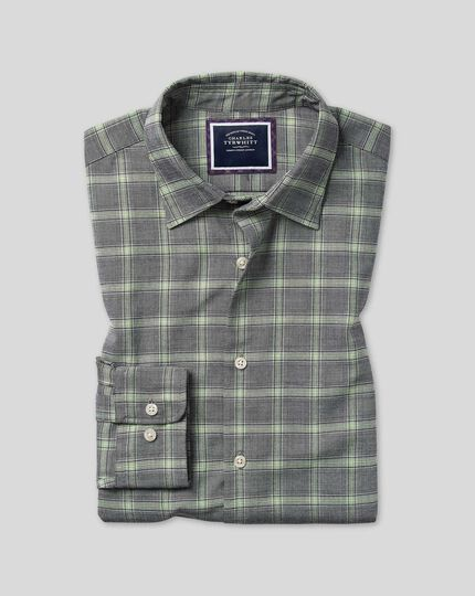 Extra slim fit grey Prince of Wales check cotton with TENCEL™