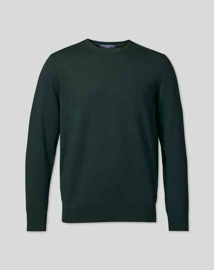 Merino Crew Neck Sweater - Forest Green