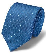 Cravate classique en soie anti-taches texturée bleu roi et blanche à pois