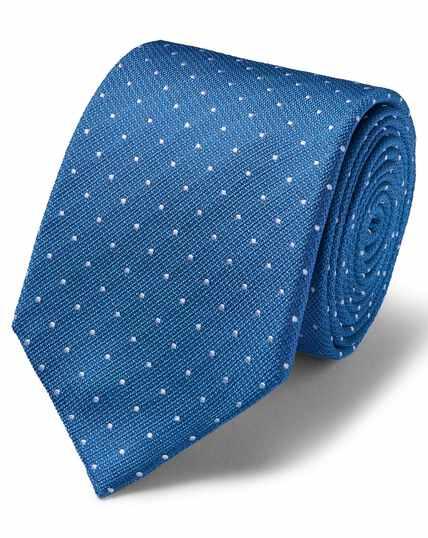 Koningsblauw/witte vlekbestendige klassieke zijden stropdas met textuur en stippen