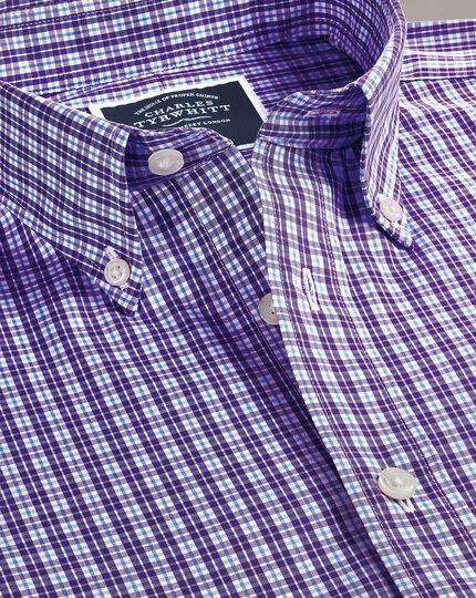 Bügelfreies Slim Fit Hemd mit Gingham-Karos in Violett