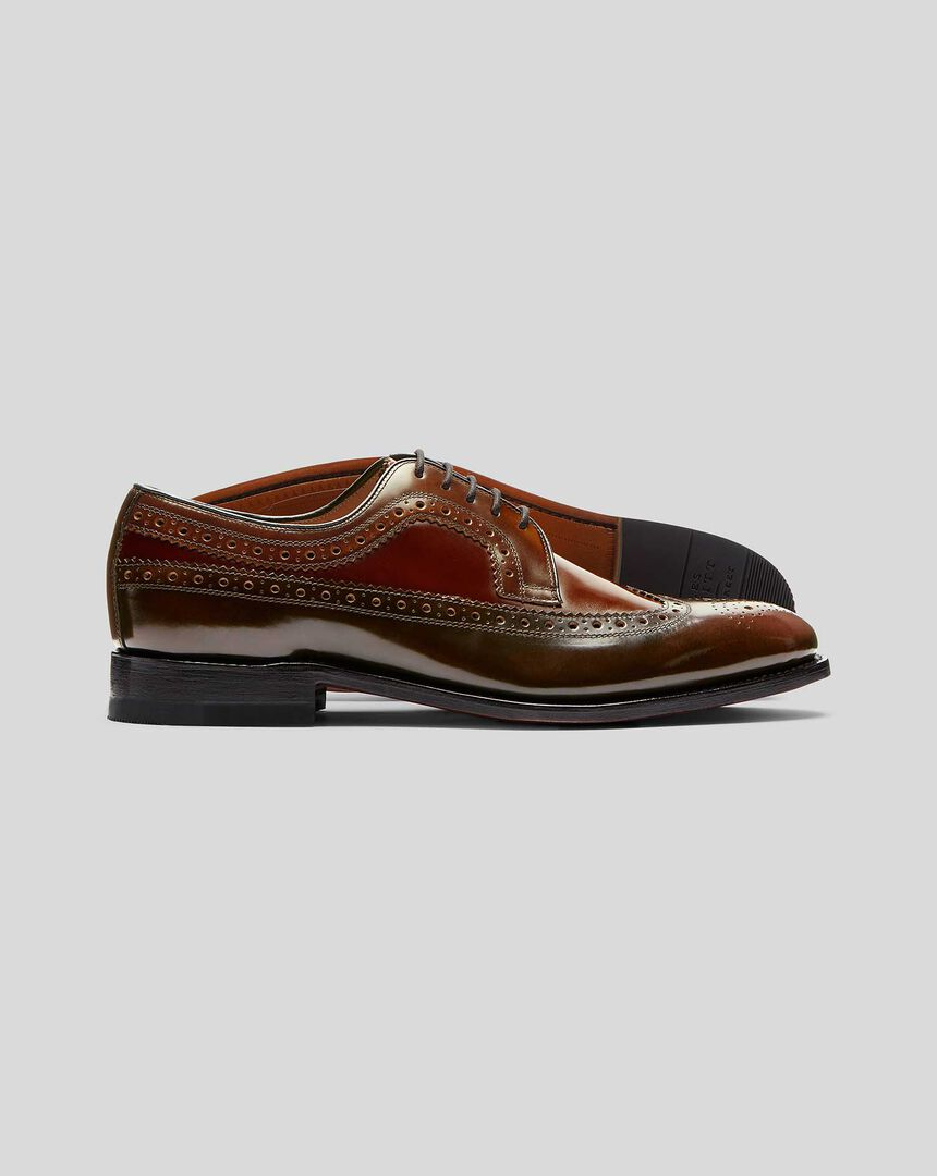 High Shine Goodyear Welted Derby Wing Tip Brogue Shoe  - Tan