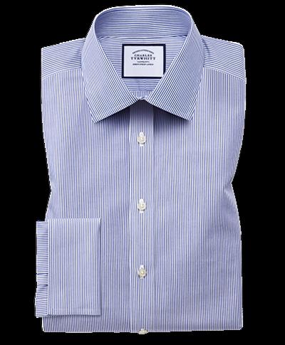 Bügelfreies Extra Slim Fit Hemd in Marineblau mit Bengal-Streifen