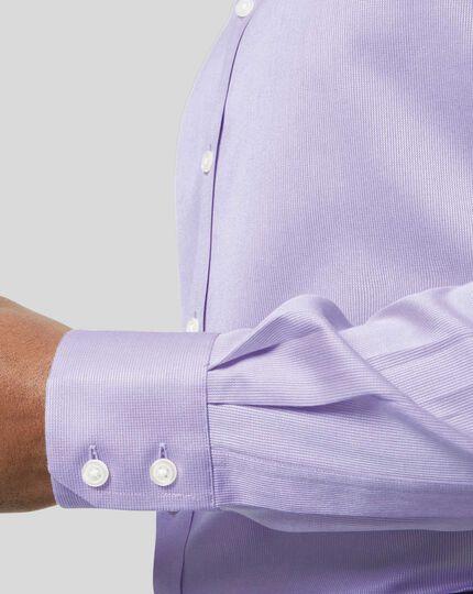 Bügelfreies Hemd aus Stretch-Baumwolle mit Haifischkragen - Lila