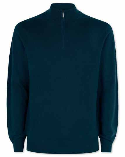 Teal merino zip neck jumper