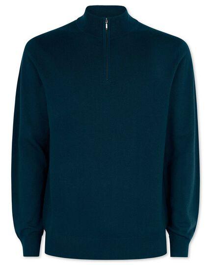 Teal merino zip neck sweater