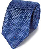 Navy geometric silk English luxury tie