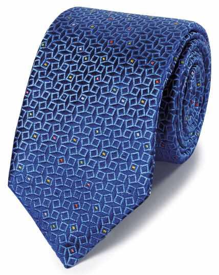 Englische Luxuskrawatte Seide mit geometrischem Muster in Marineblau