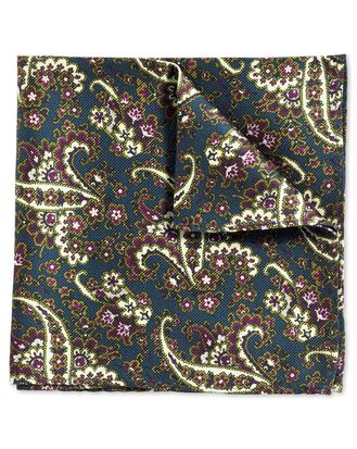 Teal and berry classic printed paisley pocket square