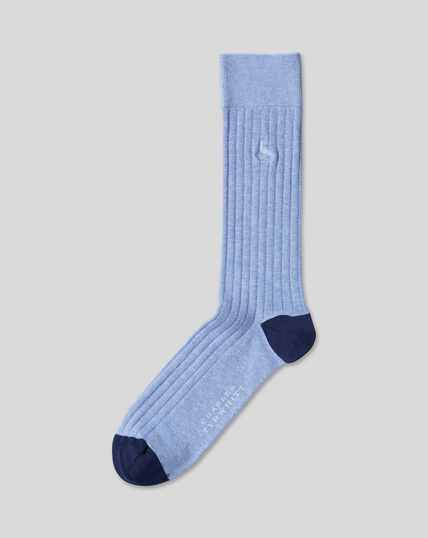 Cotton Rib Socks - Sky Marl
