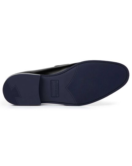 Black Goodyear welted performance saddle loafers
