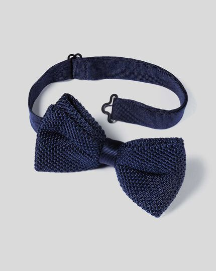 Silk Knitted Classic Bow Tie - Navy