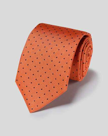 Stain Resistant Silk Textured Spot Tie - Orange & Navy