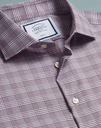 Non-Iron Natural Stretch Prince Of Wales Check Shirt - Berry