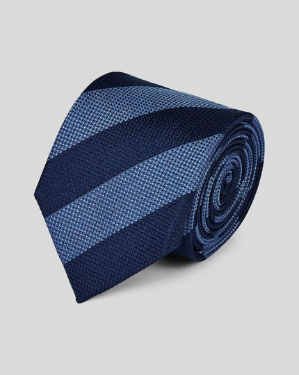 Silk Textured Block Stripe Classic Tie - Sky & Navy