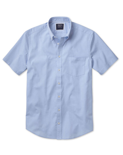 Slim fit sky blue washed Oxford short sleeve shirt