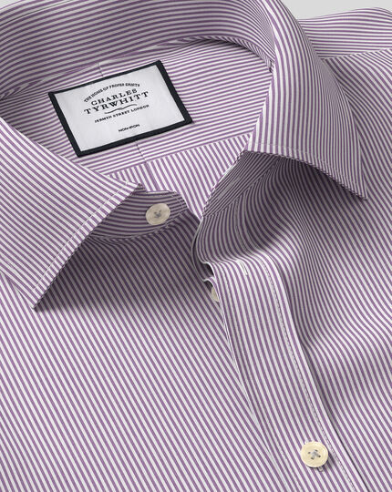 Classic Collar Non-Iron Bengal Stripe Shirt - Purple