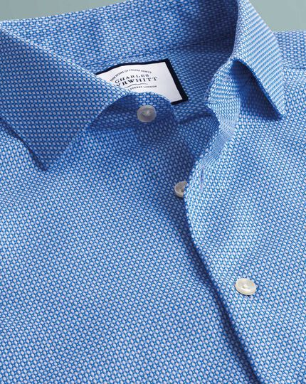 Super slim fit business casual non-iron puppytooth sky blue circle print shirt