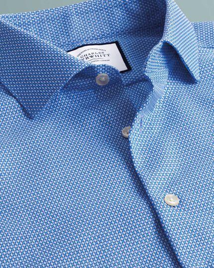 Business-Casual-Hemd Super Slim Fit Bügelfrei mit Hahnentrittmuster und Kreisen in Himmelblau