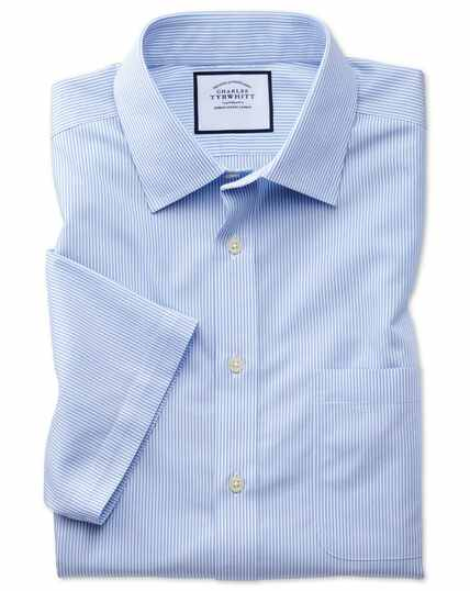 Slim fit non-iron sky blue Bengal stripe short sleeve shirt