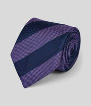 Silk Club Stripe Classic Tie - Lilac & Navy