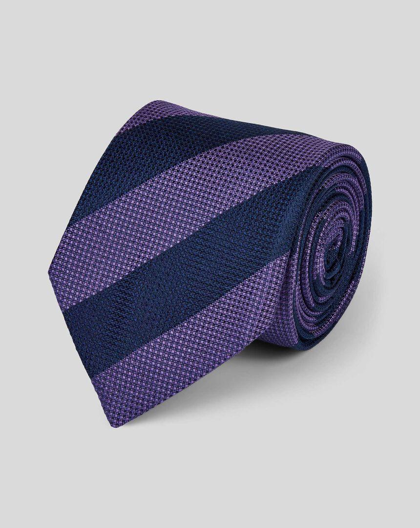 Silk Block Stripe Classic Tie - Lilac & Navy