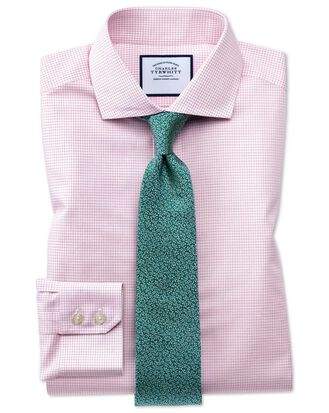 Slim fit spread collar non-iron natural cool micro check pink shirt