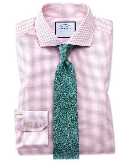 Slim fit cutaway non-iron natural cool micro check pink shirt