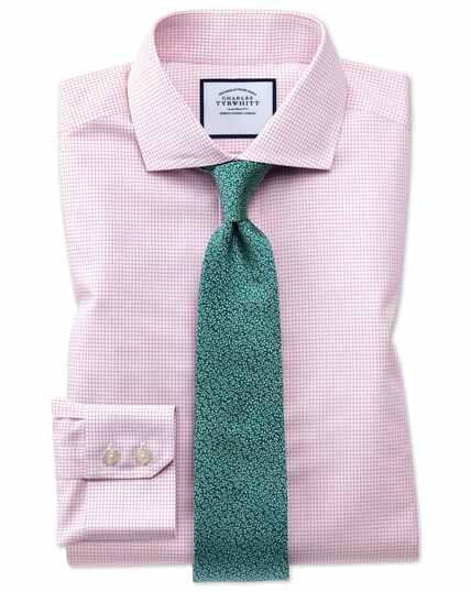 Extra slim fit cutaway non-iron natural cool micro check pink shirt