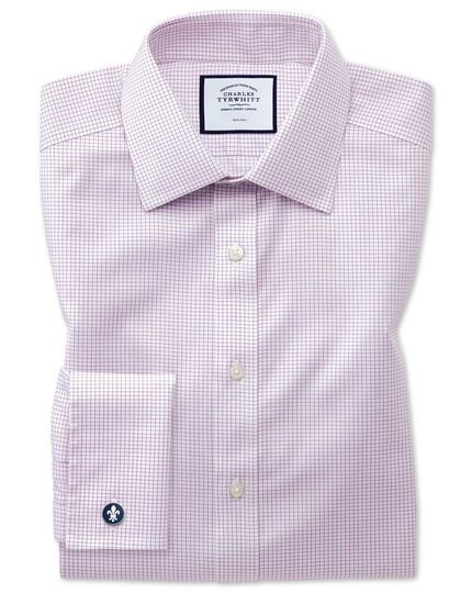 Non-Iron Twill Mini Grid Check Shirt - Purple