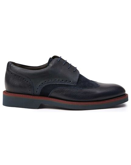 Navy extra lightweight Derby wing tip shoes