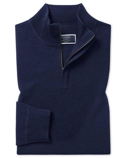 Navy merino cashmere zip neck sweater