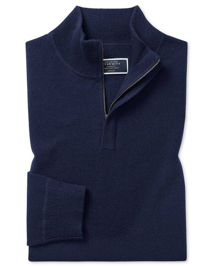 Navy merino cashmere zip neck jumper
