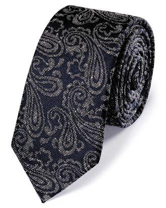 Cravate slim classique bleu marine et grise en soie et Donegal à motif cachemire