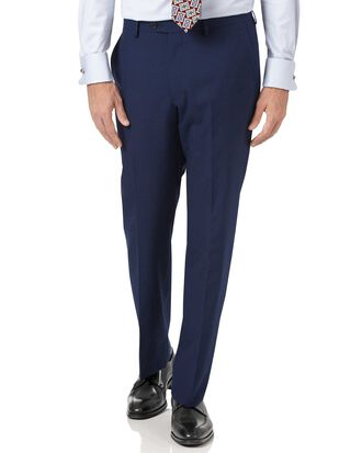 Indigo blue slim fit Panama puppytooth business suit trousers