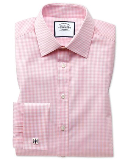Extra slim fit light pink small gingham shirt