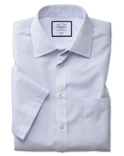Chemise à manches courtes et micro carreaux sans repassage - Bleu