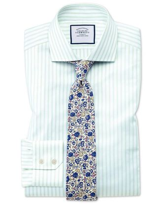Slim fit spread collar textured stripe green and white shirt