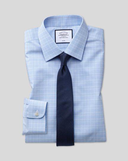 Classic Collar Non-Iron Prince Of Wales Check Shirt - Sky