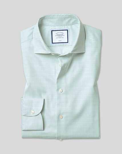 Business Casual Collar Non-Iron Natural Stretch Sketch Shirt - Green