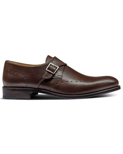 Chocolate brogue monk shoes