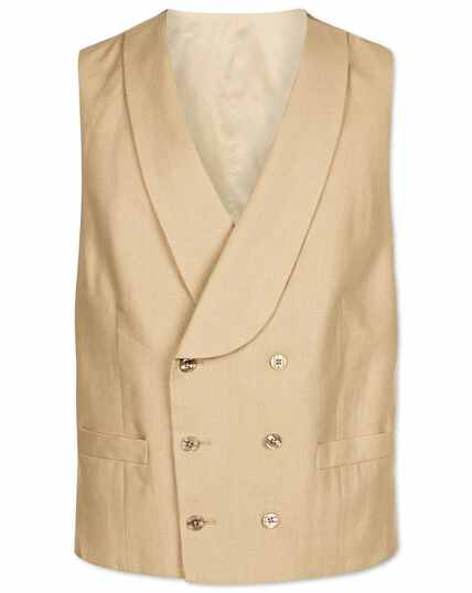 Natural adjustable fit linen morning suit waistcoat