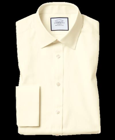 Hemd aus ägyptischer Baumwolle mit Kent Kragen und Fischgrätmuster - Gelb