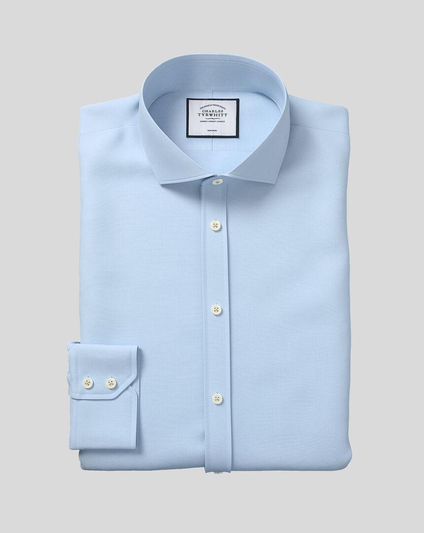 Bügelfreies Popeline-Hemd mit Haifischkragen  - Himmelblau