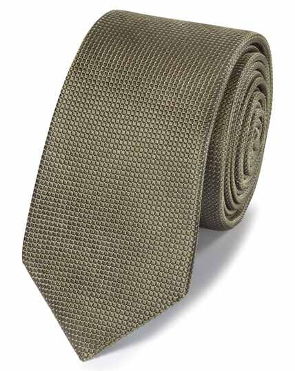 Olive mini pindot slim tie